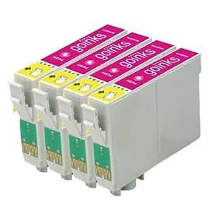 4x Compatible Cartouche d'encre magenta imprimante pour remplacer T0713 pour une utilisation dans Epson Stylus D78 D92 D120 D5050 DX400 DX4000 DX4050 DX4400 DX4450 DX5000 DX5050 DX6000 DX6050 DX7000F DX7400 DX7450 DX8400 DX8450 DX9400 DX9400F BX300F BX310FN BX3450 SX115 SX200 SX205 SX210 SX215 SX218 SX400 SX405 SX415 SX600FW SX510W SX515W SX610FW