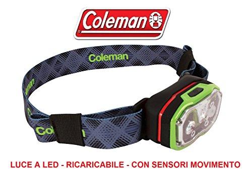 frontalina Lampe torche de tête modèle CXS 300 r marque Coleman adaptée Running et Biker – Système autorégulation lumière – Contrôle avec mouvement des mains – Batterie Li-Ion de lithium