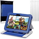 """Amazon Kindle Fire HD 7"""", HD Display Blue Techstyle PU Leather Folio Case / Cover / Pouch / Holster with Stand + 6-in-1 Screen Protector Pack By Terrapin"""