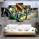 Bicicleta de montaña Bicicleta arte pintura 5 paneles HD Impresión deportiva moderna pared posters Lienzo Para la decoración de la sala de estar en el hogar, 30X80