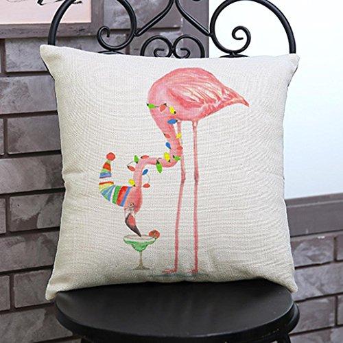 IGEMY Flamingo Painting Linen Cushion Cover Throw Waist Pillow Case Sofa Home Decor (F)