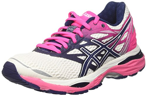 Asics Gel-cumulus 18, Women's Running Shoes, Off White (White/indigo Blue/hot Pink), 7...