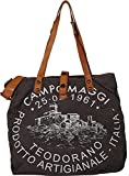 Campomaggi Damen Shopper Canvas Grau Leder Schultertasche One Size
