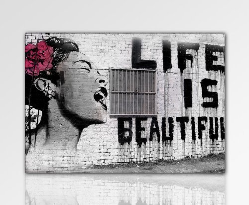 ps-art Banksy - Stampa su tela da parete, 120 x 80 cm. Stampa già montata sul telaio. Quadro decorativo da parete, stile pop art, street art, Top 200
