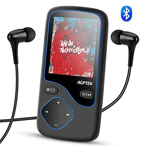 4.1 Bluetooth MP3 Player, Tragbare Musik Player Kinder, Diktiergeräte, 1,8 Zoll Bildschirm 16GB Player, unterstützt 128GB Micro SD Speicherkarte, FM Radio, Aufnahme,von AGPTEK C5, Schwarz