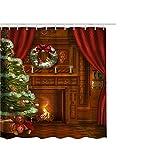 Berrose-Weihnachten Drucken wasserdicht Duschvorhang Polyester Bad Dekor Mehltau- Formbeständig, Antibakteriell, Einfach Sauber, Waschbare Duschvorhänge für Badezimmer