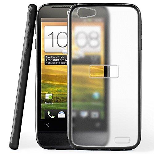 OneFlow Schutzhülle für HTC One V Hülle Silikon Case aus 1,5mm dünnem TPU | Zubehör Cover zum Handy Schutz | Handyhülle Bumper Tasche Durchsichtig Transparent in Schwarz