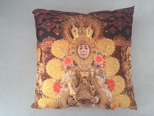 Cojín Virgen del Rocío | Tela impresa de Poliéster | Decoración Hogar | Cojín cuadrado para sofá, dormitorios, sillones | Alta calidad | Calidad de impresión y de fácil colocación