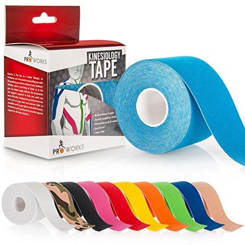 Yousave Accessories® Proworks Kinesiologie Tape [5cm x 5m Rollenlänge] Tape für Muskeln und Gelenke [Wasserfest] für Training, Physiotherapie und Schmerztherapie in verschiedenen Farben - Hellblau