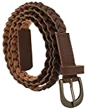 #1: Jainsons Women Braided Hand Made Casual PU Leather Belt, Brown