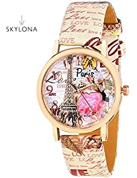 SkyLona 2017 New Collection SkyLona Round Multicolor Printed On Dial And Leather Strap Watch For Girls And Woman...