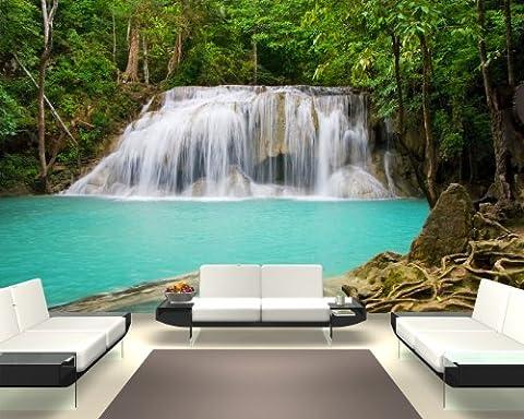 """selbstklebende Fototapete """"Dschungel Wasserfall in Thailand, Provinz Kanchanaburi"""" 270x180 cm - eigene Herstellung von Bilderdepot24, faire Produktion in Deutschland"""