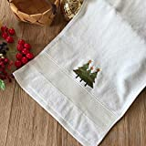 Telo Mare Asciugamano per Il Bagno Asciugamano in Cotone per Adulti Natale, Albero di Natale di Pura Lana Bianca, 34X75Cm