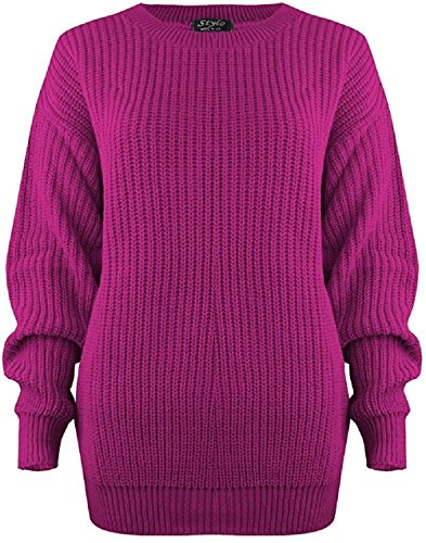 MyMixTrendz Women Ladies Winter Cable Knit Fishernet Loose Baggy Crew Neck Plus Size Jumper Top Cerise