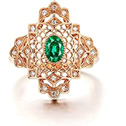 Gnzoe 18K (750) Oro Mujeres Anillo de Diamante Anillo Solitario Anillos de Compromiso Rose Oro con Verde 0.578ct Esmeralda Tamaño 8