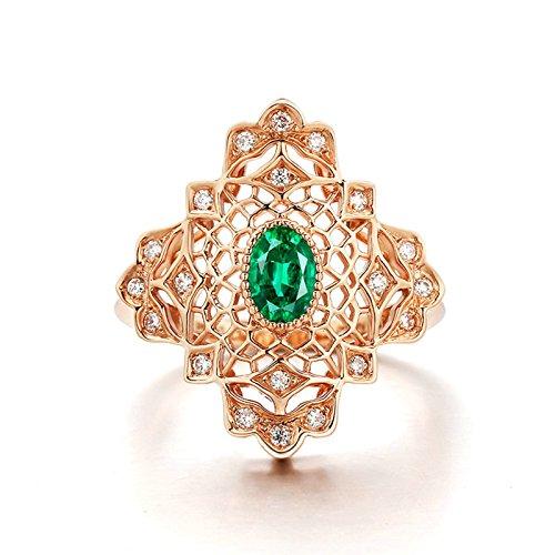 Aooaz 18K Gold Ringe Diamant & Smaragd Grün Tropfen 0.57ct Ringe für Damen Frauen Gr.47 (15.0)