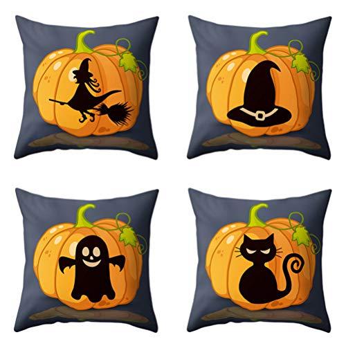 SUPVOX 4pcs Halloween Dekokissen Kürbishexe Kissen für Sofa Couch Auto Bett (Gute Werfen Halloween-party Sie Eine)