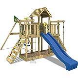 WICKEY Spielturm Little Robin Kletterturm mit Schaukel und Rutsche Holzdach Sandkasten, blaue Rutsche