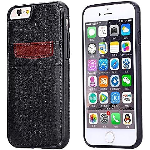 Ducomi® Duke of Palma custodia protettiva con tasca porta carte di credito in vera pelle compatibile con iPhone 6 plus 6s plus (Black)