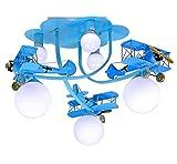 Home mall- Flugzeug Kronleuchter|Pendelleuchte|Segmentable Iron Lamp Body GLass Lampenschirm für Kinderzimmer Schlafzimmer Kindergarten ( Farbe : Blau-Ball shade )