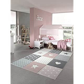 Kinderteppich Spielteppich Teppich Kinderzimmer Babyteppich mit Herz Stern in Rosa Weiss Grau Größe 80x150 cm