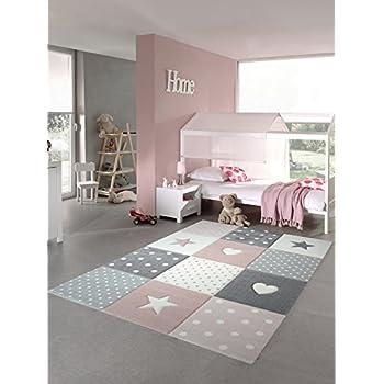 Tapis d\'enfant Tapis de jeu Chambre d\'enfant Tapis de bébé Coeur d\'étoile  en rose blanc gris Größe 120x170 cm