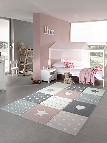 Kinderteppich Spielteppich Teppich Kinderzimmer Babyteppich mit Herz Stern in Rosa Weiss Grau Größe 120 cm Rund