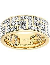 Naava Men's 9 ct Yellow Gold 1 ct Diamond Greek Key Ring
