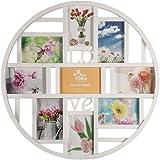 Smartfox Bilderrahmen Fotorahmen Collage für 9 Bilder im Format 10x15 cm in Weiß, Durchmesser: 52 cm