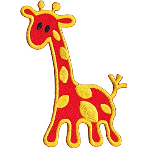 "Animals Orange arancione Giraffe Animal toppa Officially Licensed Artwork, Iron-On / Sew-On, 2.63"" x 3.75"" Embroidered ricamato PATCH"