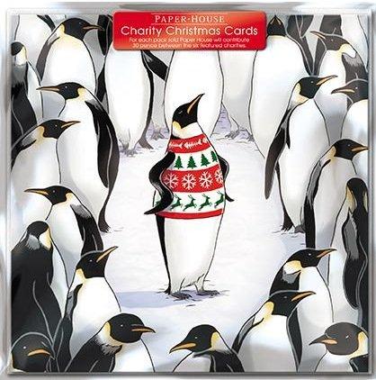 Weihnachtskarten–(ph3687)–Pinguin in einem Jumper–Pack 6Stück Karten–Verkauft in Unterstützung von British Heart Foundation, Age UK, tenovus, mnda, NSPCC und Diabetes UK
