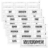 Chroma Products 48 Haushaltsetiketten/Haushaltsaufkleber weiß für Vorratsdosen - beschriftet, selbstklebend, auch in schwarz, 7,0x2,6cm