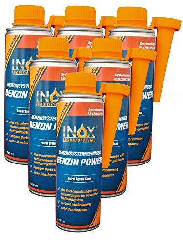 INOX® Benzin Power Additiv, 6 x 250ml - Benzinsystemreiniger-Zusatz für alle Normal- und Superbenziner