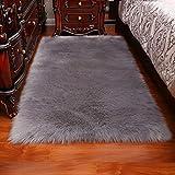 tappeti In Finta Pelle di Pecora Sintetica Pelliccia Lana Artificiale Longhair Camera da Letto Soggiorno Stuoia di Yoga Perfetto, Gray-120x150cm/3.9x4.9ft