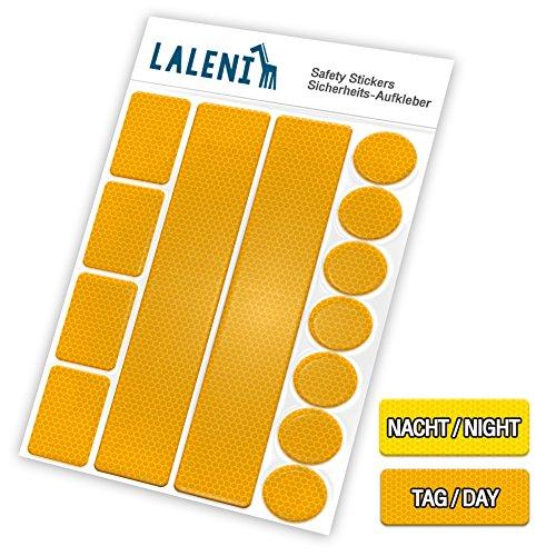 Laleni Conjunto de 13Piezas de reflectores Adhesivos para Cochecito, Bicicleta, Mochilas. Aumenta la Seguridad Vial por la Noche y al Atardecer. Etiqueta autoadhesiva Luminosa (Amarillo, 3Juegos)