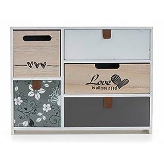 ArtiCasa Mini-Kommode aus MDF, 5 Schubladen, Shabby-Look, frei stehend, weiß, Größe ca. 30 x 23 x 10 cm