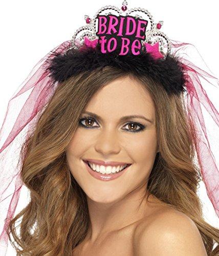 Diadem mit pinkem Brautschleier Aufschrift BRIDE-TO-BE Accessoire Junggesellenabschied Junggesellinnenabschied JGA Bridal Shower