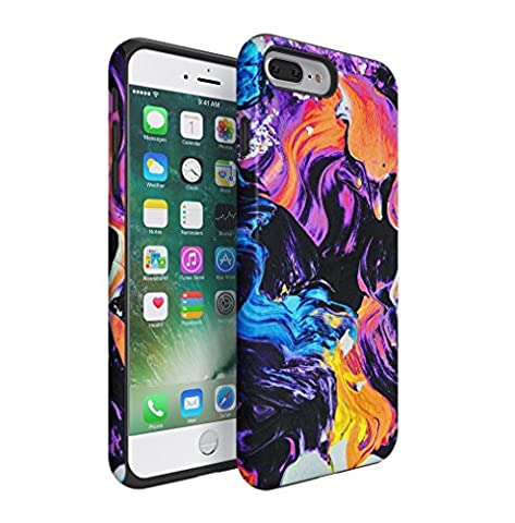 Colourful Paint Dashes Pattern Apple iPhone 7 PLUS Silicone Inner & Outer Hard PC Shell 2 Piece Hybrid Armor Case Cover