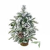 Künstlicher Weihnachtsbaum Helsinki im braunen Weidekorb, Kunstschnee, geschmückt, 41 Äste, 50 cm, Ø 30 cm - Kunst Tannenbaum/Deko Christbaum - artplants