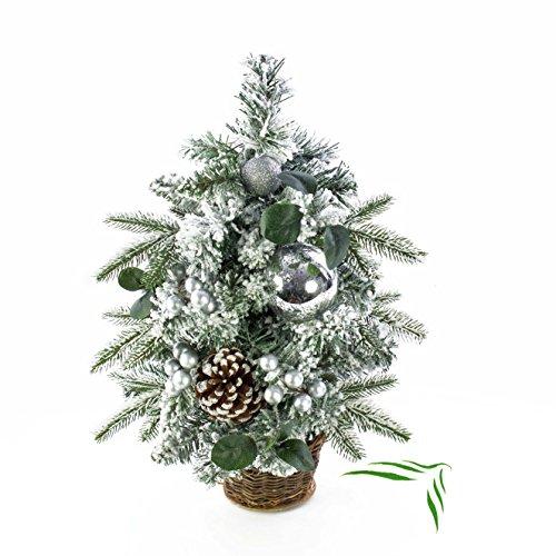 Artplants set 'albero di natale artificiale + spray protettivo uv gratuito' - alberello natalizio helsinki, con pigne, cesto di vimini, decorato, bianco, 50 cm, Ø 30 cm
