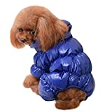 YiJee Kleine Hunde Kleidung Hupentasten Wintermantel Hoher Hals Hundejacke Saphir XS