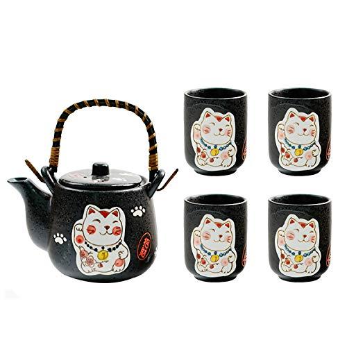 Keramik-Teeservice im Japanischen Stil Handgemalte Süße Glückliche Katze zu Haushalt Tee-Set EIN Topf Vier Tassen