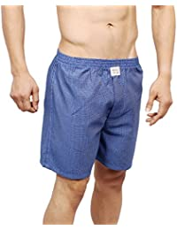 Neska Moda Men's Premium Elasticated Cotton Blue Boxer With 1 Back Pocket-MFN-XB29