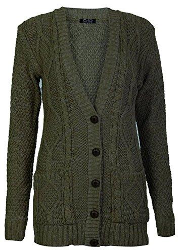 Fast Fashion Giacca da donna lavorata a maglia, a maniche lunghe cachi