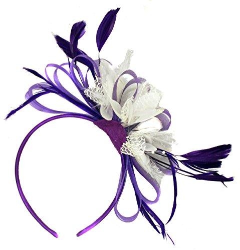 fascinator wei  Violett und wei§ BURLESQUE FASCINATOR Stirnband Hochzeit KOPFSCHMUCK HAARSCHMUCK