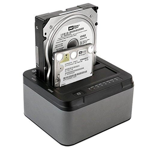 Spinido® Docking Station, Soporte para disco duro USB 3.0 Dual Bahías con función de Clon desconectado para 2,5 pulgadas y 3,5 pulgadas SATA HDD SDD (SATA I / II / III), Soporta 6 TB, Alimentación externo incluido (12V 4A), sin herramientas