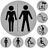 Targhetta per WC - 8 caratteri moderni per WC, adesivo rotondo in effetto acciaio inox, 9,5 cm di diametro, pittogrammi, pittogrammi per toilette pulita (set di targhette per porta)