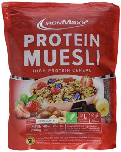IronMaxx Protein Müsli Schokolade   Veganes Fitness Müsli laktosefrei und glutenfrei   Eiweiß Müsli mit Schokoladengeschmack   1 x 2 kg (Der Knochen Von Ziege)