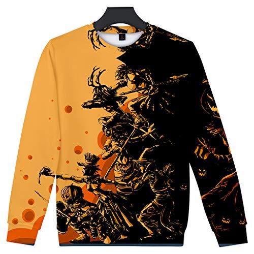 Feinny Herren Tops T-Shirt Jacke/Paar Mode Lässig Halloween Scary Element 3D Print Party Langarm Top Pullover Baseball Wear/Braun/XS-4XL