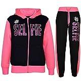 A2Z 4 Kids® Kinder Mädchen Jungen Designer - T.S #Selfie Black & Neon Pink 7-8